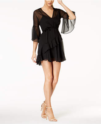 French Connection Semi-Sheer Faux-Wrap Dress