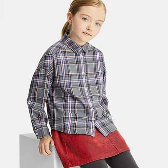 Uniqlo Girl's Flannel Checked Long-sleeve Shirt