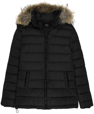 Le Temps Des Cerises Hooded Jacket with Faux Fur Trim