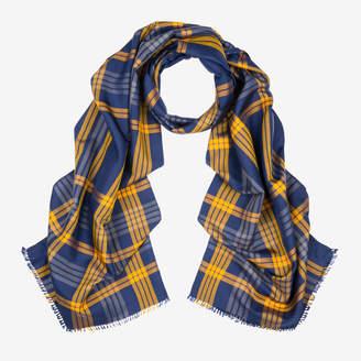 Bally Tartan Checked Silk Scarf Multicolor, Men's silk scarf in multi-canary