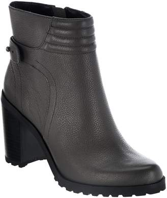 Halston H By H by Leather Ankle Boots with Block Heel - Cara