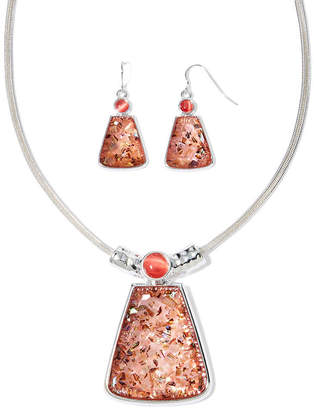 MIXIT Mixit Pink Stone Silver-Tone Rectangle Necklace and Earrings Set