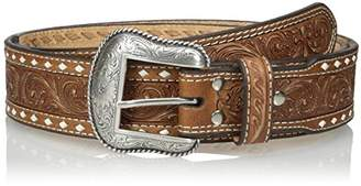 Nocona Men's Natural Wide Cross Buckstitch Belt