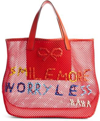 Anya Hindmarch Smile More Mesh Tote