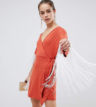 1c34e74633fb Asos Kimono Mini Wrap Dress With Fringing