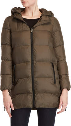 Andrew Marc Lace-Up Hooded Longline Coat
