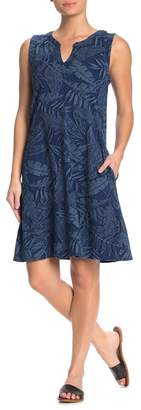 Spense Palm Leaf Sleeveless Shift Dress