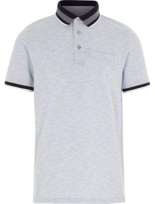 River Island Boys navy stripe collar polo shirt