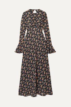 Les Rêveries - Open-back Floral-print Silk Crepe De Chine Maxi Dress - Black
