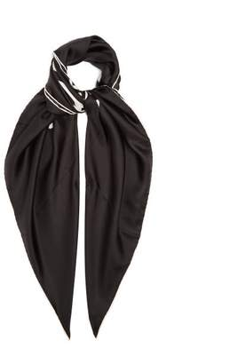 Burberry Logo Print Silk Faille Scarf - Womens - Black