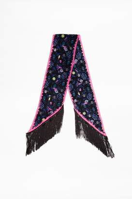 Zadig & Voltaire Zadig Voltaire Silky Fringes Tattoo Pirate Scarf