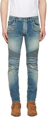Balmain Blue Distressed Biker Rib Jeans $1,375 thestylecure.com