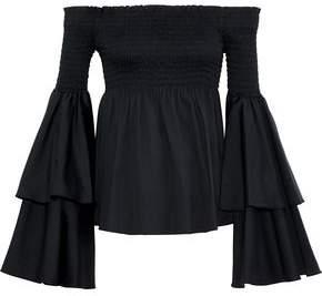 Caroline Constas Appolonia Off-the-shoulder Shirred Cotton-blend Poplin Blouse
