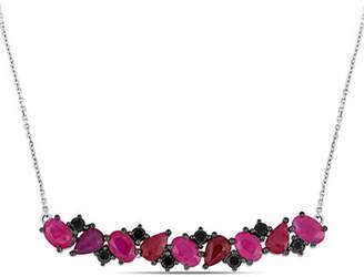 Black Diamond CONCERTO Vault 14K White Gold and Ruby Bar Necklace with 0.6 TCW