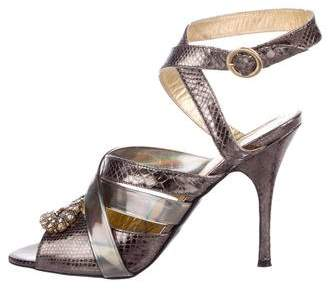 Just Cavalli Metallic Embossed Sandals