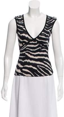 Etro Short Sleeve Zebra Printed Top