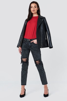 Glamorous Distressed Baggy Jeans Charcoal