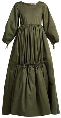 Molly Goddard Astrid Cotton Twill Tiered Maxi Dress - Womens - Khaki