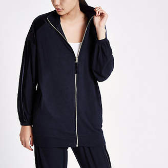 River Island Womens Navy oversized zip through loungewear jacket