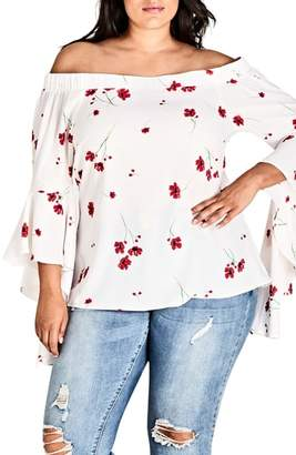 City Chic Miss Poppy Floral Off the Shoulder Top