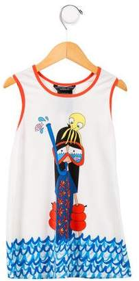 Little Marc Jacobs Girls' Graphic Sleeveless Swimwear Top