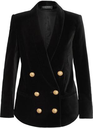 Balmain Double-breasted velvet blazer $1,820 thestylecure.com