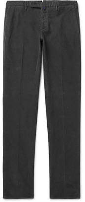 Incotex Slim-Fit Garment-Dyed Stretch-Cotton Corduroy Trousers - Men - Charcoal