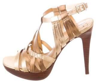 Diane von Furstenberg Metallic Leather Ankle Strap Sandals Gold Metallic Leather Ankle Strap Sandals
