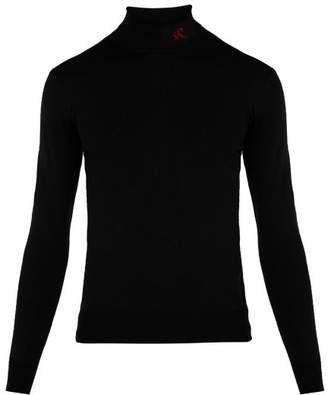 Raf Simons Logo Wool Blend Roll Neck Sweater - Mens - Black