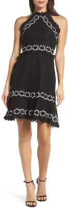 Foxiedox Frances Embroidered Lace Halter Dress