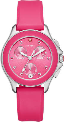 Michele 36mm Cape Topaz Chrono Watch with Silicone Strap, Pink