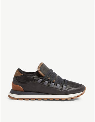 Brunello Cucinelli Wedge suede and mesh trainers