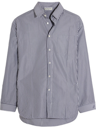 Balenciaga - Oversized Striped Poplin Shirt - Navy $855 thestylecure.com