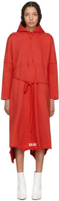 Vetements Red Panelled Hooded Dress