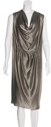 Lanvin Silk Cowl Neck Dress Green Silk Cowl Neck Dress