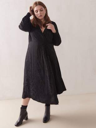 Jacquard Midi Wrap Dress - Addition Elle