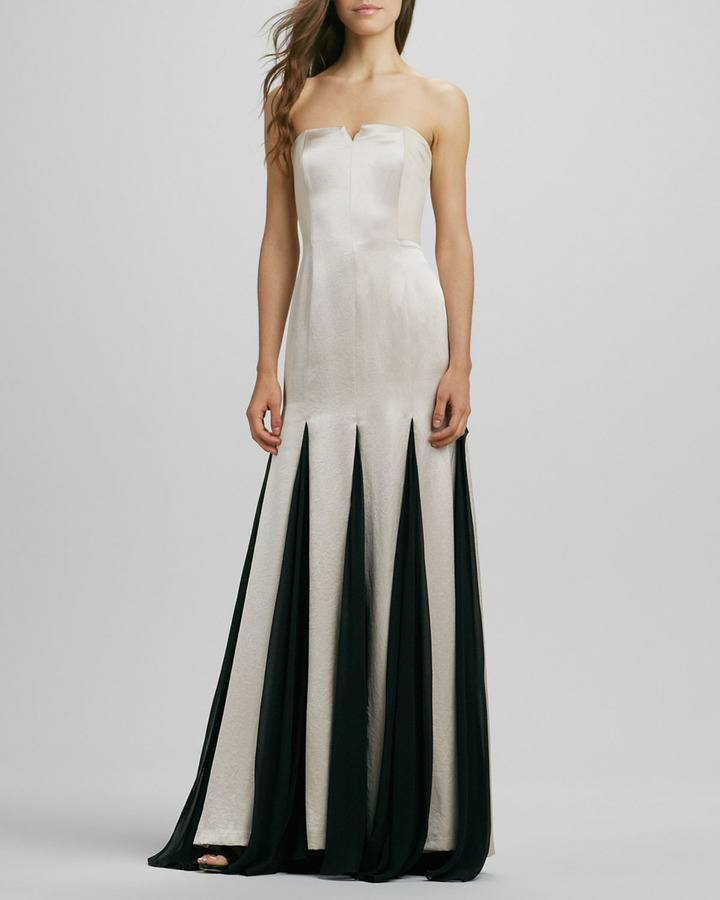 Halston Strapless Sheer-Inset Gown