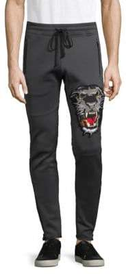 Graphic Embroidery Side Zip Jogging Pants