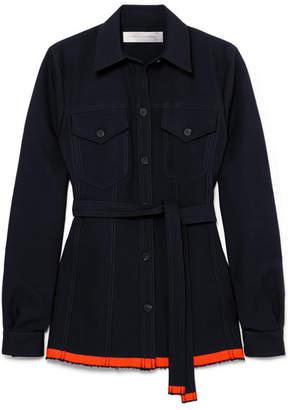Victoria Beckham Victoria, Belted Wool-twill Shirt - Midnight blue