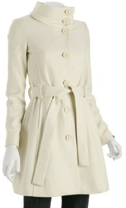 Miss Sixty ivory wool blend rib knit collar coat