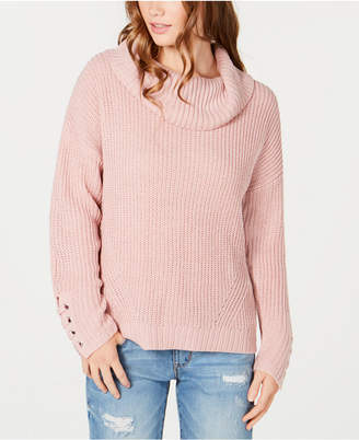 American Rag Juniors' Lace-Up Cowl-Neck Sweater