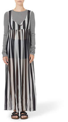 Marc Jacobs Sheer Wide-Stripe Scoop-Neck Maxi Dress