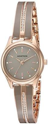 Swarovski Armitron Women's 75/5450TPRGTP Crystal Accented Rose Gold-Tone and Taupe Bangle Watch