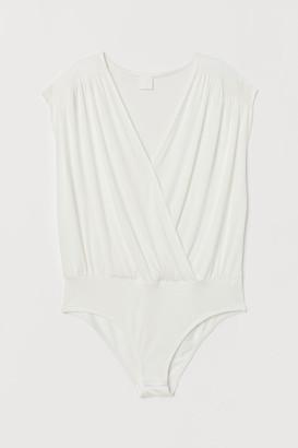 H&M Draped Wrapover Bodysuit - White