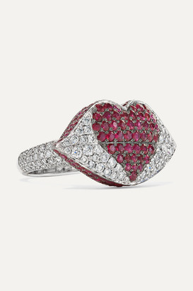 Ofira Kiss Me 18-karat White Gold, Diamond And Ruby Ring - 6