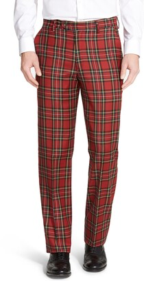 Berle Flat Front Classic Fit Plaid Wool Trousers