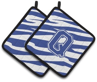 Caroline's Treasures Monogram Initial Q Tiger Stripe Blue and White Pair of Pot Holders