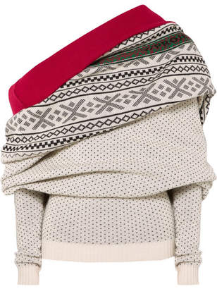 Y/Project Fair Isle Off-the-shoulder Merino Wool Sweater - Off-white