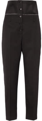 Jil Sander Satin-paneled Wool-twill Slim-leg Pants - Black