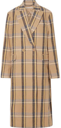 Stella McCartney Oversized Double-breasted Checked Wool Coat - Beige
